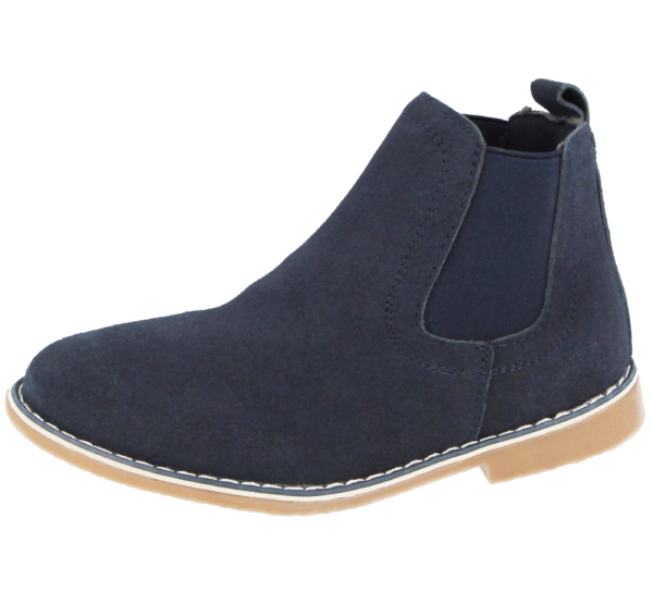 Boys Suede Blue Chelsea Ankle Boots