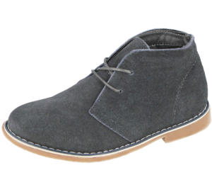 Boys Real Suede Grey Lace Up Desert Boots