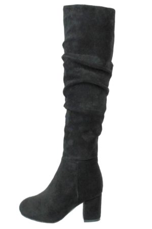 Womens Faux Suede Black Heeled Knee High Boots