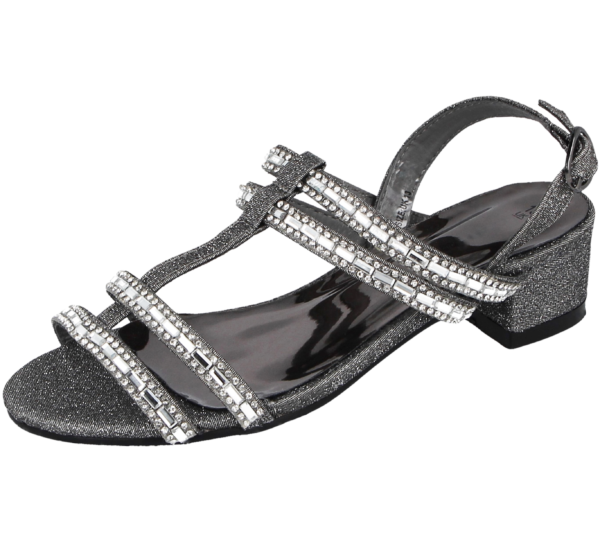 Girl Chatterbox Pewter Sparkly Strappy Block Heel Sandal