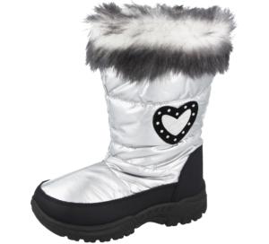 Girls Miss riot Silver Heart Snow Boots