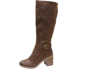 Womens Mottled Two Tone Heeled Knee High Boots