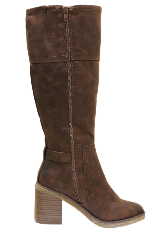 Womens Mottled Two Tone Heeled Knee High Boots Zip