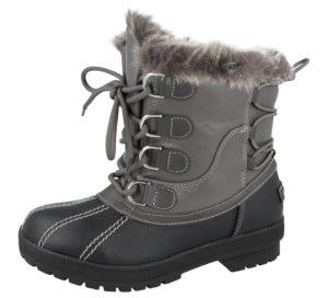 Ladies Grey Black Snow Boots