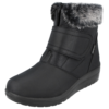Womens Cushion Walk Ankle Boots With Faux Fur Trim
