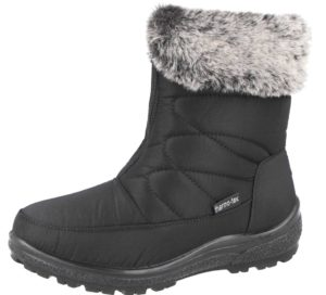 Womens Cushion Walk Snow Boots With Faux Fur Trim