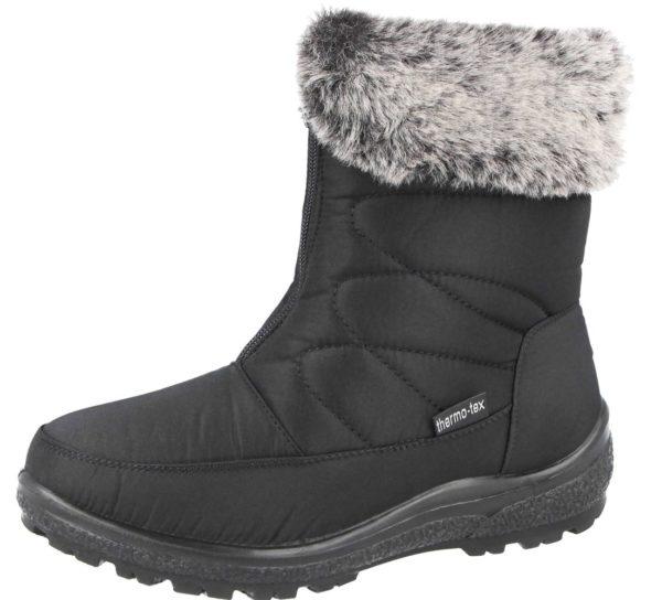 Womens Cushion Walk Snow Boots With Faux Fur Trim
