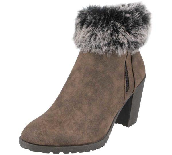 ladies-brown heel ankle boots front