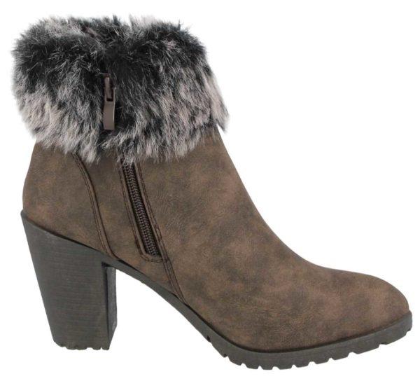 ladies brown heel ankle boots side
